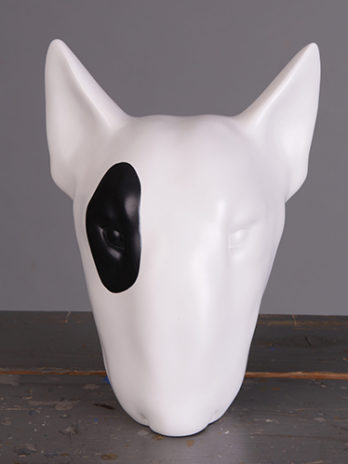 White Bull Terrier right eye spot