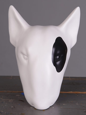 White Bull Terrier left eye spot
